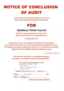 Spelsbury Parish Council – notice of Conclusion of Audit